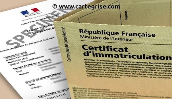 certificat d'immatriculation voiture